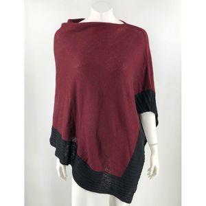 Celeste Womens Poncho Sweater One Size Burgundy